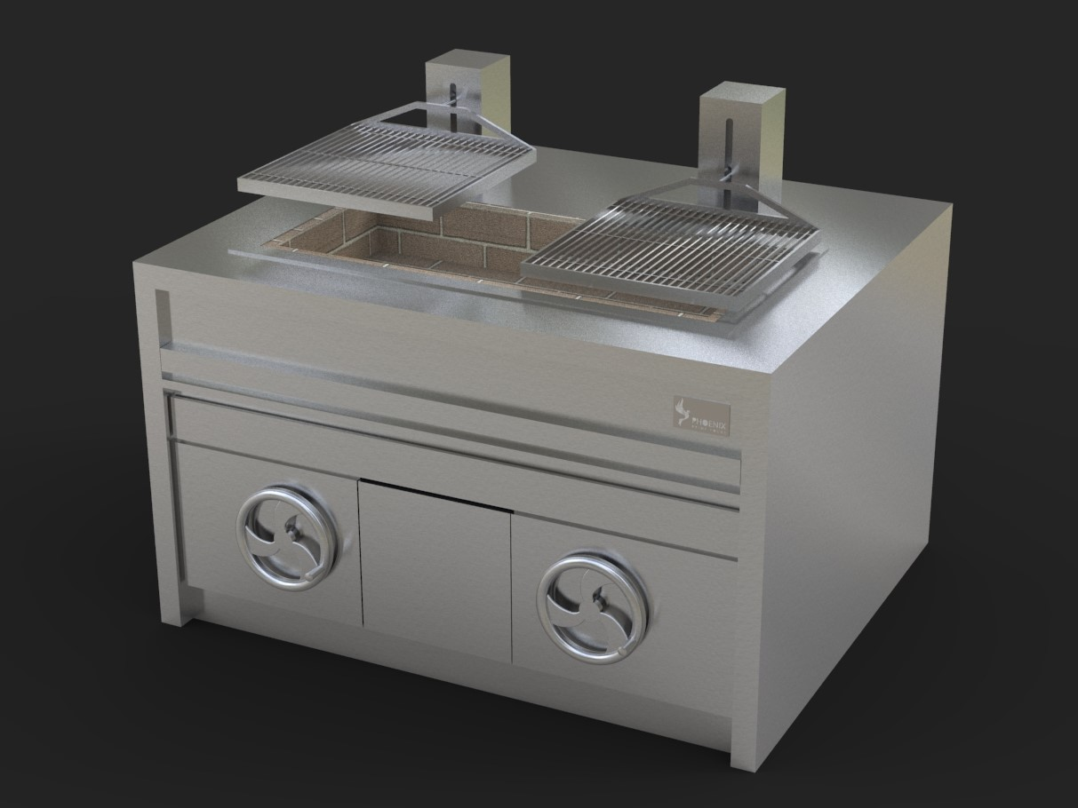 Adjustable Dual Wheel Grill - Charcoal Fired