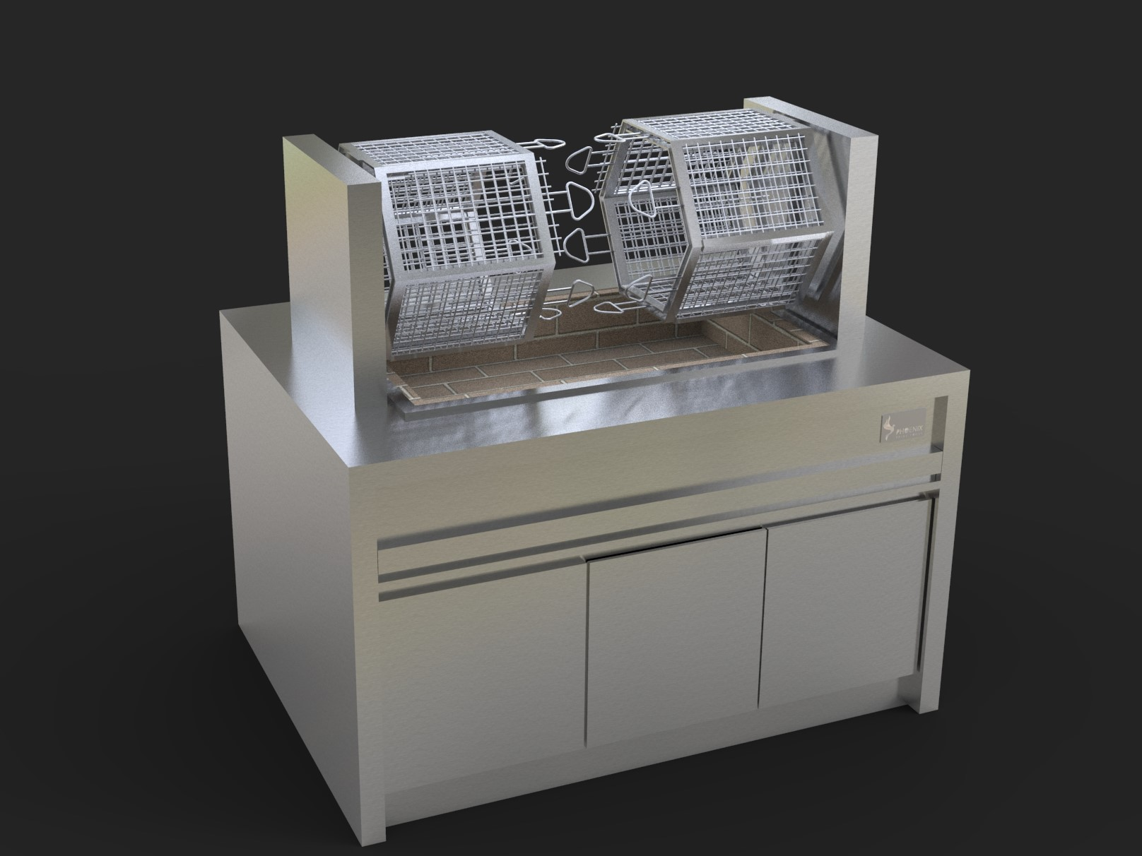 Feature Multi-Rotisserie with Adjustable Rotation, Charcoal/Wood Fired