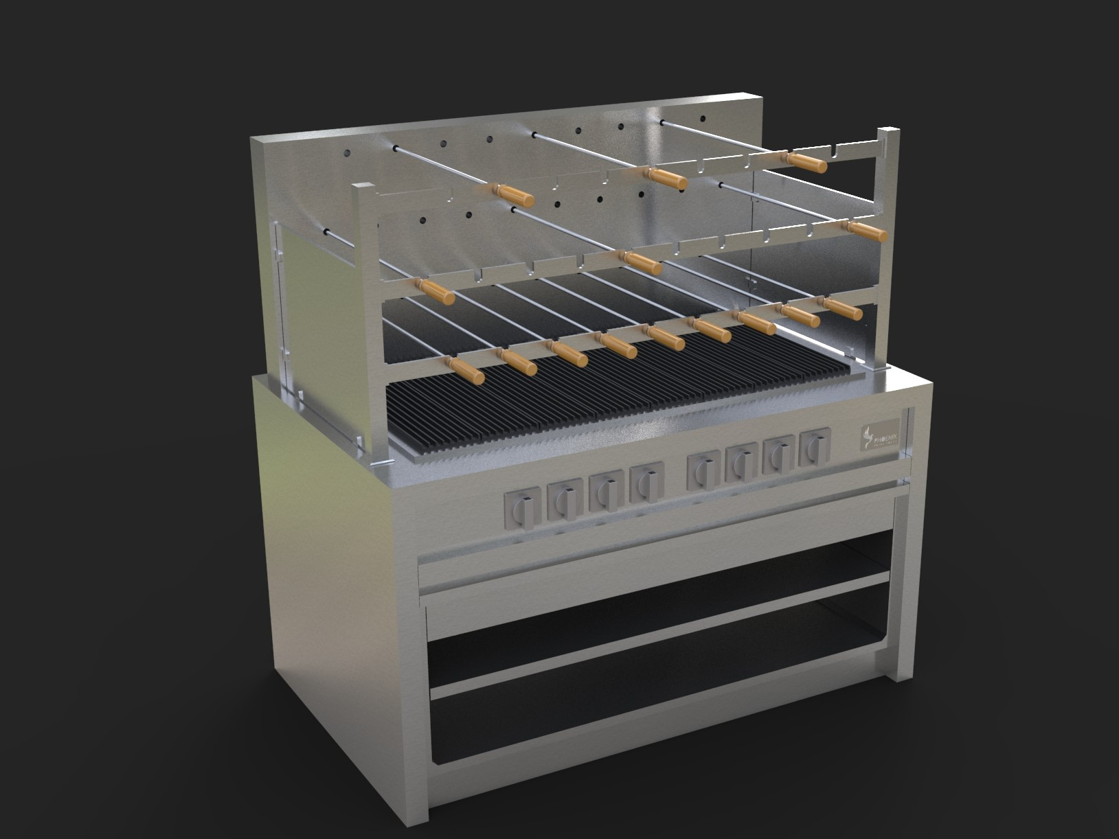 Churrasco Grill, Gas Fired. Complete with lower grill plates and removable side panels/glass inserts available